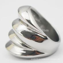 Nuevo diseño 2015 joyas artificiales de plata de acero inoxidable mujeres anillo de onda