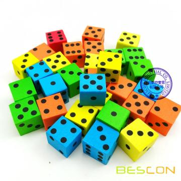 Assorted Colored 16MM Soft Foam Dice Set
