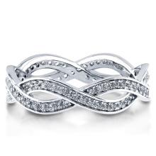 Plata esterlina con Zirconia tejida anillo de la eternidad 925 joyería de plata