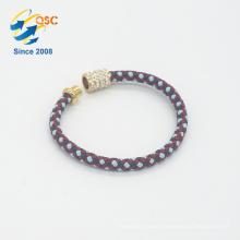 Cadmium free standard PU colorful braided women bracelet