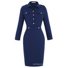 Kate Kasin Retro Vintage Long Sleeve Navy Style Hips-Wrapped Bodycon Pencil Dress KK000226-1
