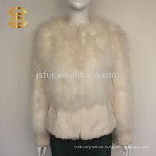 2015 Europäische Mode Damen Flauschige Türkei Feder und echte Kaninchen Pelz Jacke Stil Mantel
