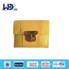 Lemon yellow soft leather ladies wallets