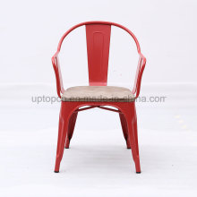 Red Metal Restaurant Chair with Wooden Seat (SP-MC093)