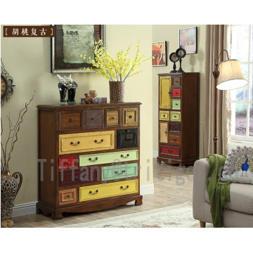 Livingroom furniture Drawer Antique birch Wood Cabinet for Home Decoration