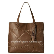 Front Woven Detail with Hanging Tassel Charm Handbag (ZXS0082)