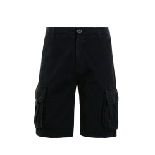 Shorts de algodão pretos na altura do joelho na moda