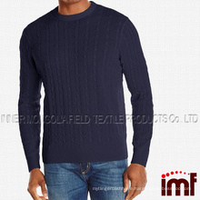 Men's 100% Cashmere Cable Crew Neck Sweater