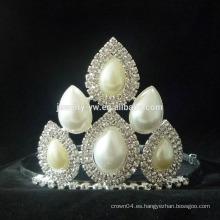 Venta al por mayor corona corona princesa para las niñas, de alta calidad perla Tiaras Pearl Wedding Tiara