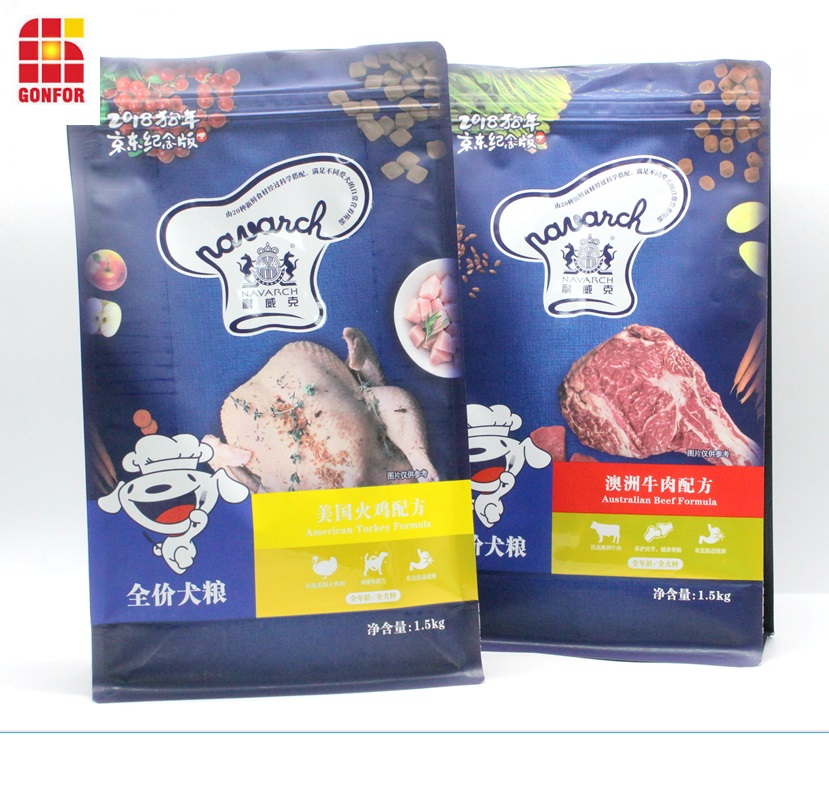 Pet Food Flat Bottom Pouch With Zipper Sealing Function