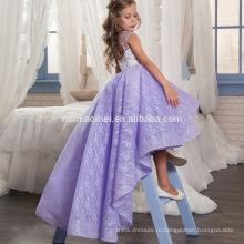Пром платья девушки мода короткий передний долго назад фиолетовый кружево свадьба платье девочка платье узоры