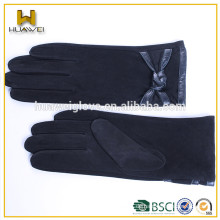 Mädchen-Art und Weiseveloursleder-Lederhandhandschuhe mit Wollfutter