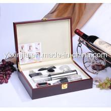 Kitchenware abridor de vinho elétrico de alumínio com Wine Pourer, caixa de vinho de madeira