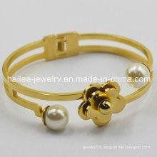 Best Design Flower Stainless Steel Bangle for Gift