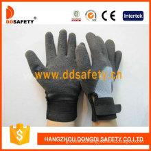 Grey T/C Shell Black Nitrile Adjustable Wrist Work Glove (DKL562)
