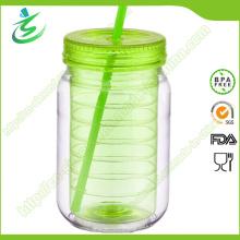 Pot de maçonnerie en plastique haute qualité de 20 oz avec logo personnalisé (MJ-D1)