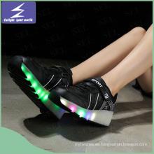 Moda PU cuero USB LED luz luminosa zapatos de carga de zapatos