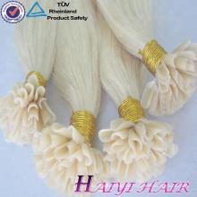Großhandels brasilianische Jungfrau doppelt gezogene Haarverlängerung Keratin Tipp Haarverlängerungen U Tipp Haar