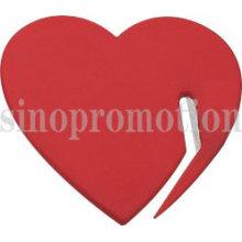 Abridor de cartas em forma de coração promocional em plástico