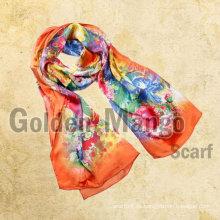 Bufanda de seda larga de la impresión digital colorida intrépida