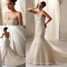 WD2959 Strapless sleeveless sweetheart neckline pearl diamond mermaid/trumpet heavy beaded champagne wedding dress