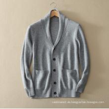 Herren reine Kaschmir-Strickjacke für Winter dicken Pullover Mantel mit Einsatz Tasche V-Ausschnitt einreihig