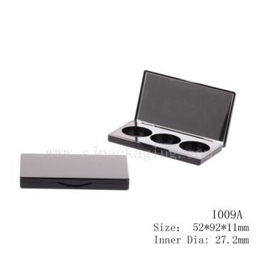 Simple black eyeshadow case wholesale rectangle eyeshadow packaging with mirror 3 color eyeshadow pan packaging