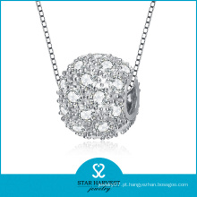 Micro pavimentada CZ prata jóia colar de pérolas (SH-N0116)