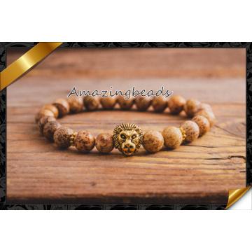 Горячий продавая браслеты Chams головного золота льва с каменным шариком (CB061)