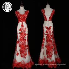 Los mejores modelos rojos del vestido formal de la flor de la moda del diseño respetuoso del medio ambiente