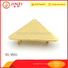 Zinc de aleación de triángulo de bolsas de accesorios de placas de metal para bolsas