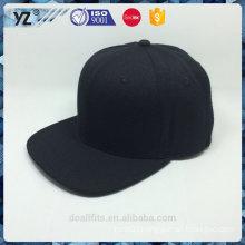 custom wool/ acrylic fabric black blank fitted cap