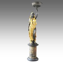 Jardín Escultura de Bronce Indio Señora Decoración de Bronce Estatua Tpls-063/065