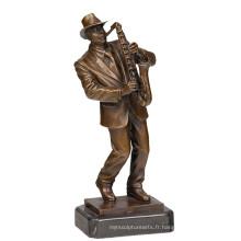 Musique Décor En Laiton Statue Mâle Joueur Artisanat Bronze Sculpture Tpy-752