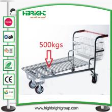 Chariot à plate-forme métallique d'entrepôt résistant