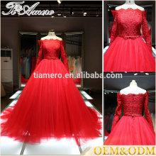 Vestido de boda de la alta calidad nuevo vestido verdadero de la bola de la manera de la muestra verdadera roja 2017