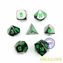 Deluxe Gloss Black Metal 7pcs Polyhedral Dice Set, Black Metal RPG Game Dice Metal 7pcs Set of d4 d6 d8 d10 d12 d20 d%