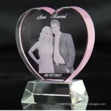 Laser 3D personalizado gravado K9 coração de cristal rosa prêmios cristal aniversário, lembranças dos presentes de casamento