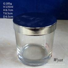 Круглый цилиндр стекла Jar стекло подсвечник с стальной крышкой