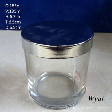 Cilindro redondo vidro vela Jar suporte de vidro com tampa de aço