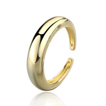 Right Grand Brass 18k gold plating open size moon shape plain ring