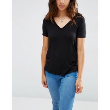 Benutzerdefinierte Viskose mit V-Ausschnitt kurzen Ärmeln und DIP zurück Frauen T-Shirt