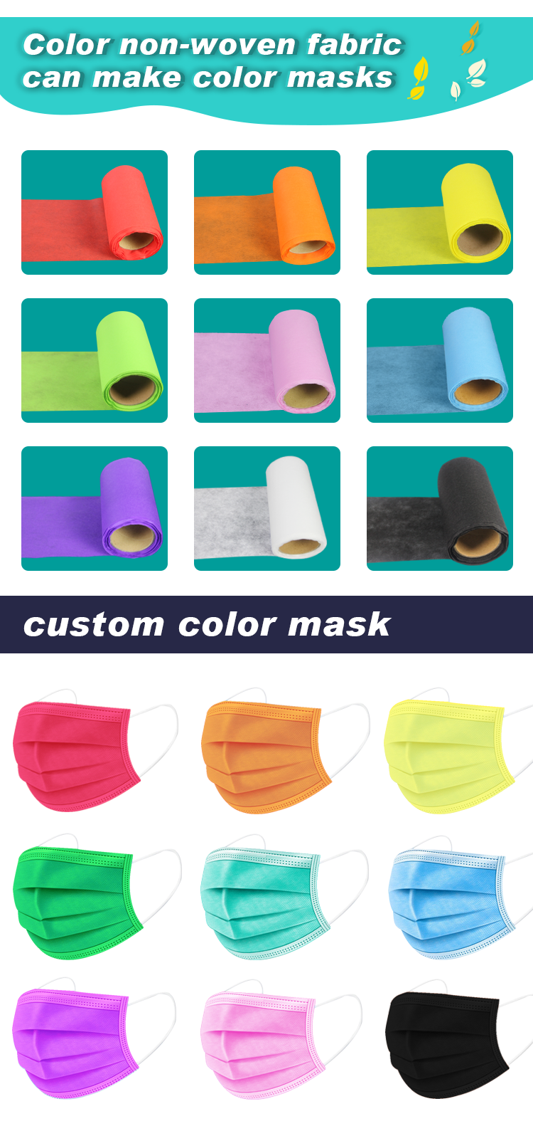 color non-wowen fabric can make color masks