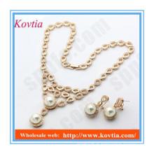 Italiano imitação pérola declaração colar e jóias brincos conjuntos