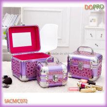 Beauty Shining Purple Surface Aluminum Jewellery Box with Mirror (SACMC072)