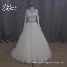 Beading pesado padrão tule vestidos de noiva-line