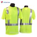 ANSI 107 Naranja / amarillo camiseta de seguridad reflectante de manga corta, camiseta de cuello redondo de alta visibilidad Fluo Ropa de trabajo