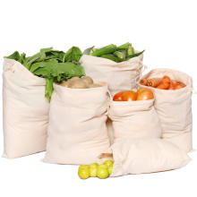 Wholesale Premium Custom Organic Drawstring Cotton Reusable Produce Muslin Bags for vegetable storage