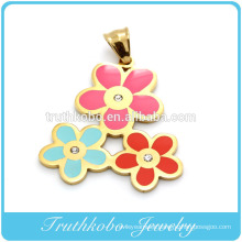 DIY Stainless Steel 18k Gold Plated Three Colors Enamel Flowers Necklace Crystal Pendant