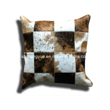 Natural Leather Cowhide Patch Cushions